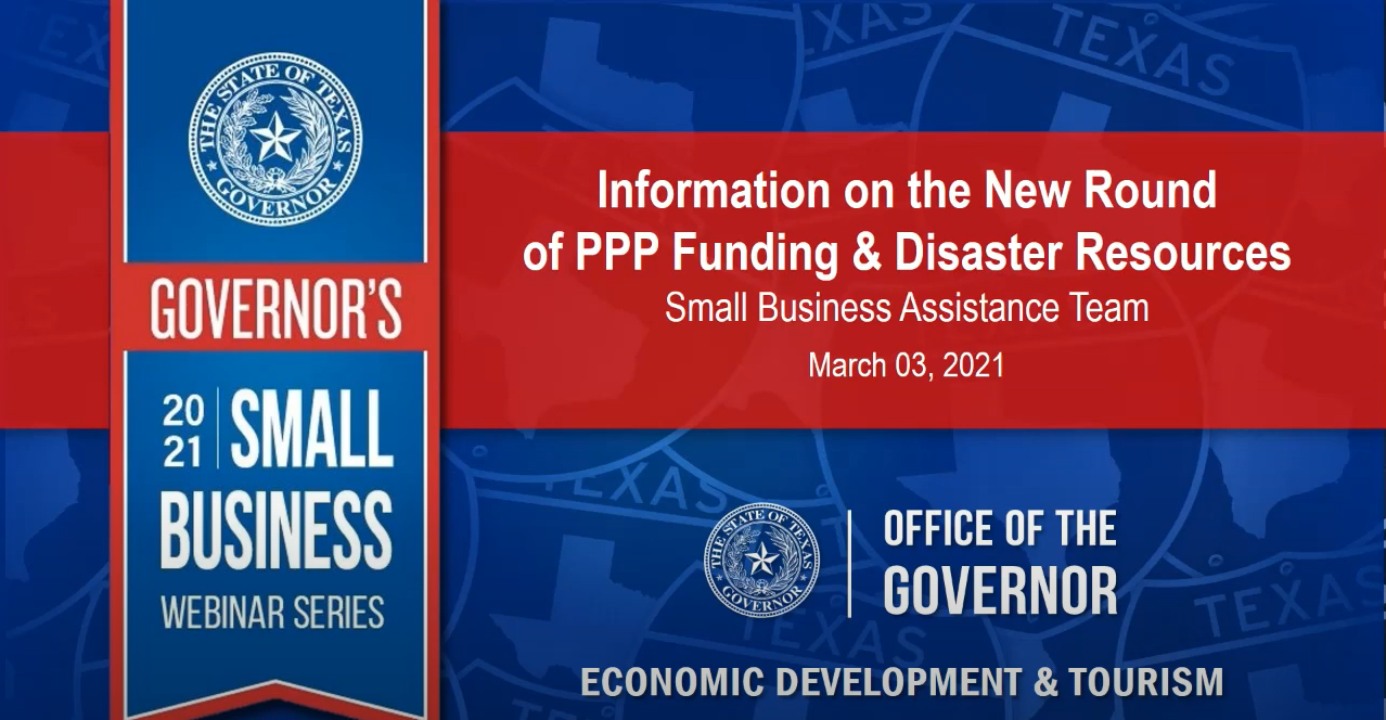 Governor's Small Business Webinar: New Round of PPP Funding & Disaster Resources